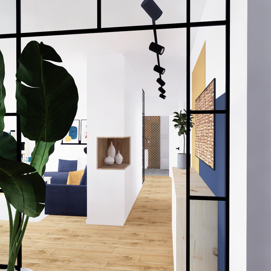 Projekt wnętrza mieszkania wraz z nadzorem nad realizacją. Korytarz w mieszkaniu 111 m2. Domknięcie korytarza loftowym stalowym przejściem z ramkami w kolorze czarnym. Przestronna zabudowa na zamówienie z przeszklonym narożnikiem na książki równiez w stylu loft. Oświetlenie – szynoprzewody. Na dłuższej ścianie, która sąsiaduje z saloniem akcenty kolorystyczne musztardowy i granatowy - kopozycja z sosnową szafką.