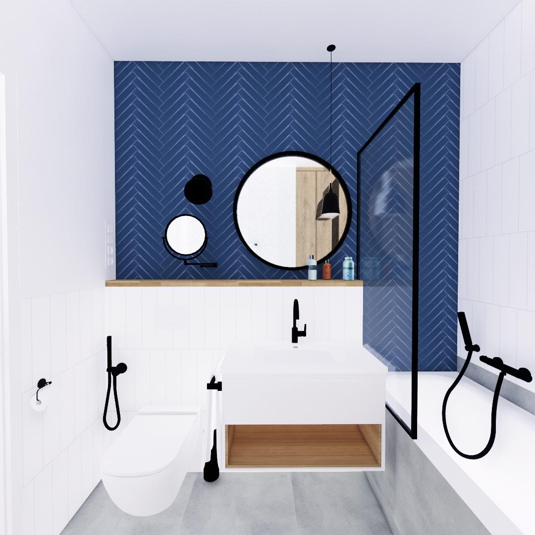 Projekt wnętrza mieszkania wraz z nadzorem nad realizacją. Duża łazienka w mieszkaniu 111 m2. Jasna, przestronna łazienka z mocnymi akcentami kolorystycznymi. Na tle białych i szatych płytek wyraźnie odznaczają się granatowe ułożone w jodełkę. Armatura i dodatki w kolorze czarnym, ocieplenie wizualne dzięki drewnianym elementom.