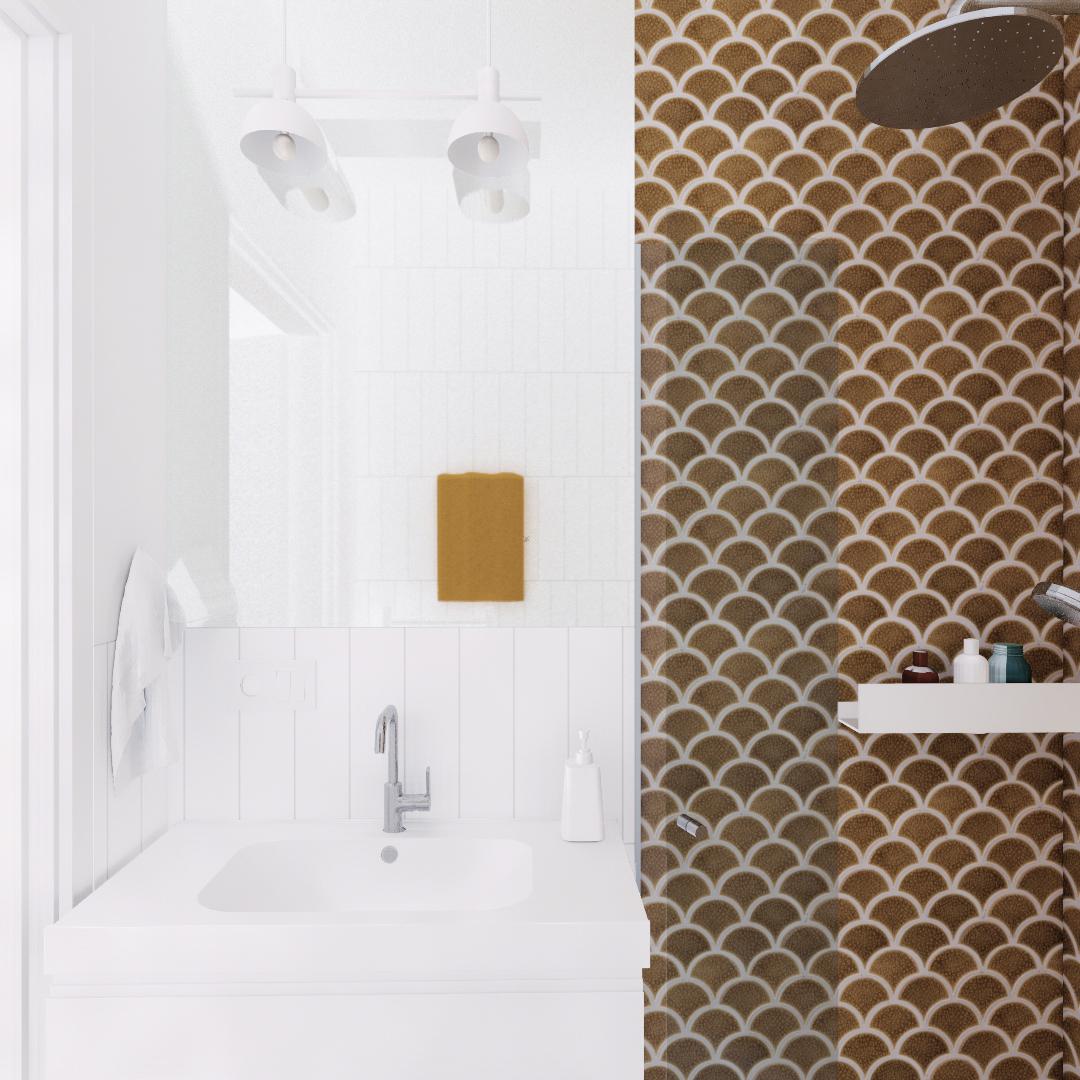 Projekt wnętrza mieszkania wraz z nadzorem nad realizacją. Mała łazienka w mieszkaniu 111 m2. Niewielka łazienka została powiększona optycznie dzięki białym płytkom ułożonym do sufitu i dużej powierzchni lustra. Akcent kolorystyczny w postacie miodowych płytek w kształcie rybiej łuski ułożonych pod prysznicem. Oświetlenie i dodatki w kolorze białym, armatura chromowana. Składana kabina prysznicowa dla oszczędności miejsca.