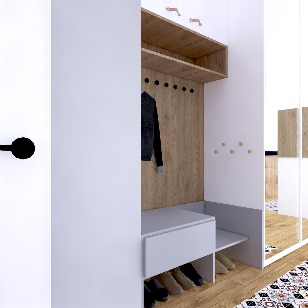 Projekt wnętrza mieszkania wraz z nadzorem nad realizacją. Przedpokój w mieszkaniu 111 m2. Przedpokój w zabudowie meblowej. Część zabudowy stanowi siedzisko dla dorosłych i dla dzieci, zewnętrzne wieszaki. Na zakończeniu korytarza szafka z wnęką ekspozycyjną. Jasne wnętrze, dużo drewnianych elementów, skórzane uchwyty szafek.