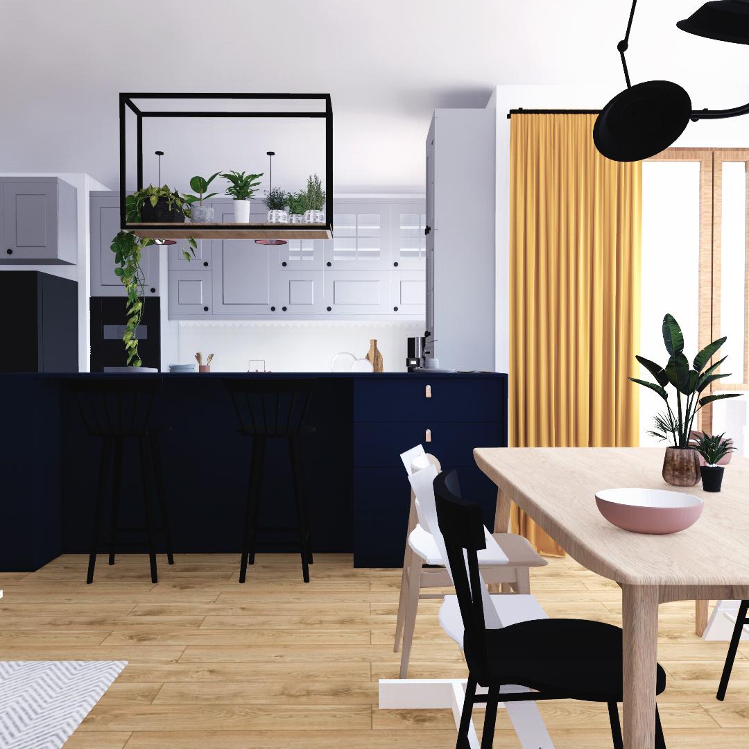 Projekt wnętrza mieszkania wraz z nadzorem nad realizacją. Salon w mieszkaniu 111 m2. Mieszkanie zostało zaprojektowane w stylu skandynawskim z elementami loftowymi. Jasne, żywe kolory wyróżniają się tu na tle bieli ścian, a ciepła i naturalności dodają rośliny i drewniana podłoga. Zastosowane rozwiązania wprowadzają lepszy podział mieszkania na strefy i czynią przestrzeń bardziej praktyczną.
