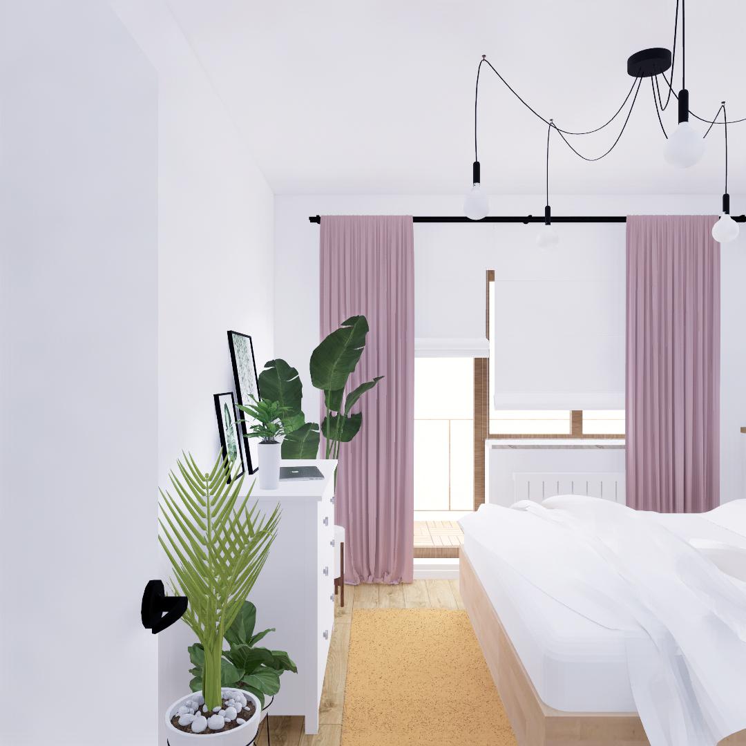 Projekt wnętrza mieszkania wraz z nadzorem nad realizacją. Sypialnia w mieszkaniu 111 m2. Przytulna, jasna sypialnia w stylu skandynawskim. Dużo przestrzeni do przchowywania: szafa na ubrania oraz łóżko z podnoszonym stelażem. Szafki nocne jako drewniane wnęki w zagłówku w formie zabudowy na zamówienie. Akcenty kolorystyczne: musztardowy dywan, purowo różowe zesłony. Duża lampa pająk, czarne kinkiety.