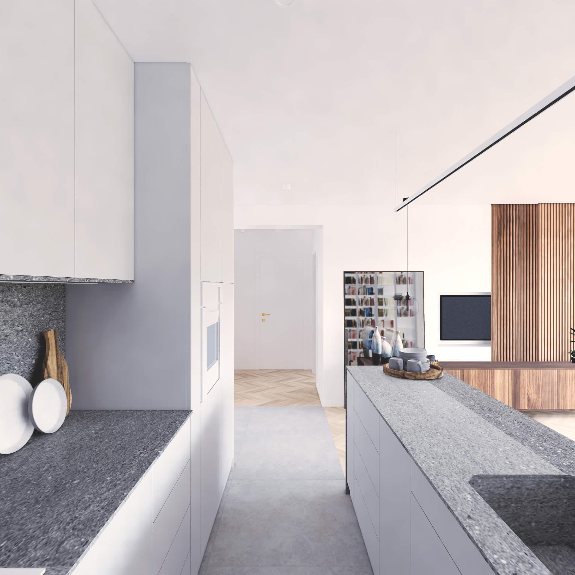 Projekt wnętrza mieszkania wraz z nadzorem nad realizacją. Aneks kucheny w mieszkaniu 71 m2. Założeniem projektu jest prosta, spokojna przestrzeń w stonowanych kolorach z beżami i szarościami. Zabudowa aneksu kuchennego płynnie przechodzi w biblioteczkę w salonie wydłużając optycznie pomieszczenie. Aneks jest jednocześnie wyraźnie oddzielony od salonu. Formalnie podkreśla to zmiana materiału na podłodze i półwysep kuchenny. Meble w kuchni są w jasnych, stonowanych barwach, aby stanowić tło dla salonu.