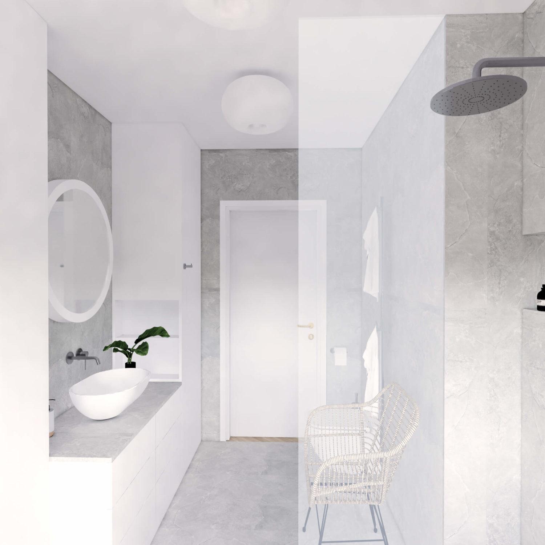 Projekt wnętrza mieszkania wraz znadzorem nadrealizacją. Łazienka wmieszkaniu 71 m2. Założeniem projektu jest prosta, spokojna przestrzeń wstonowanych kolorach. Ponad połowę łazienki wypełniają wygodna, duża wanna iobszerny prysznic typu walk-in. Mimo tojest tu dużo miejsca doprzechowywania. Łazienka jest bardzo minimalistyczna – mamy tu tylkotrzy kolory: biel mebli, szarość strukturalnych płytek ichrom naarmaturze. Rattanowy fotel izieleń wróżnych zakątkach ocieplają wnętrze.