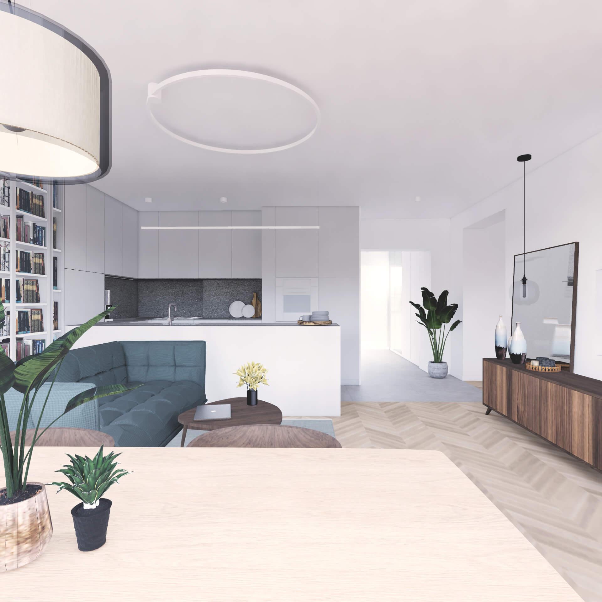 Projekt wnętrza mieszkania wraz z nadzorem nad realizacją. Salon w mieszkaniu 71 m2. Założeniem projektu jest prosta, spokojna przestrzeń w stonowanych kolorach z beżami i szarościami. Na wizualizacji aneks kuchenny wyraźnie oddzielony od salonu. Formalnie podkreśla to zmiana materiału na podłodze i półwysep kuchenny. Meble w kuchni są w jasnych, stonowanych barwach, aby stanowić tło dla salonu.