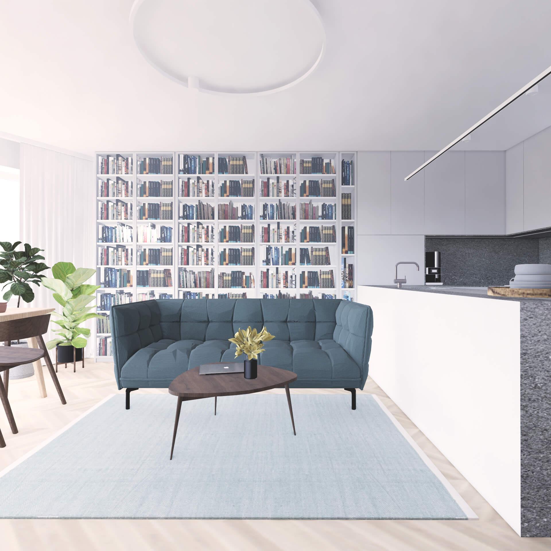 Projekt wnętrza mieszkania wraz z nadzorem nad realizacją. Salon w mieszkaniu 71 m2. Założeniem projektu jest prosta, spokojna przestrzeń w stonowanych kolorach z beżami i szarościami. Ważnym wymogiem było zaaranżowanie możliwie największej ilości regałów na książki. Na wizualizacji duża przeszklona biblioteczka, która płynnie łączy się z zabudową kuchenną. Przed biblioteczką kanapa wraz ze stolikiem kawowym.