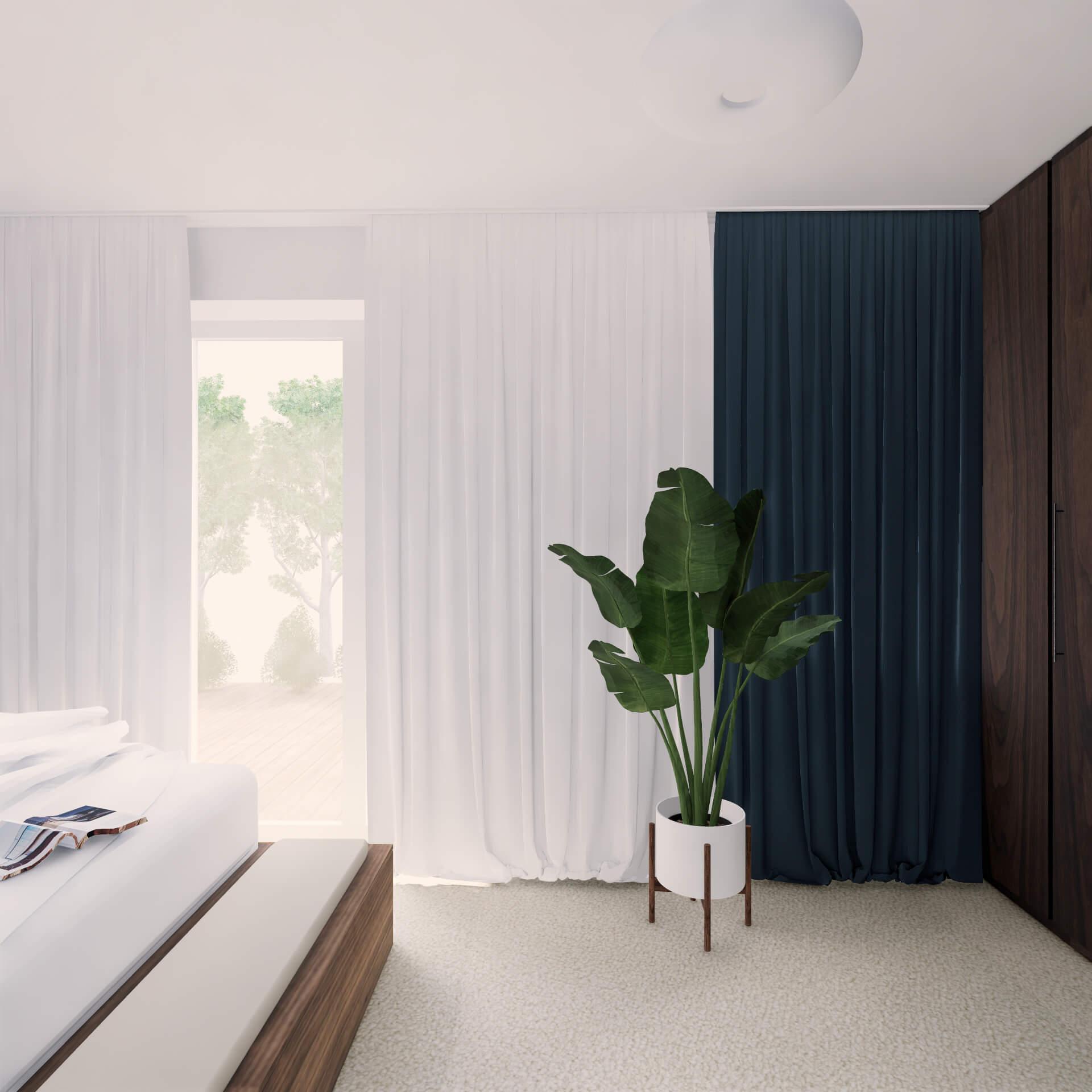 Projekt wnętrza mieszkania wraz z nadzorem nad realizacją. Łazienka w mieszkaniu 71 m2. Sypialnia została zaprojektowana z myślą o wyciszeniu i relaksie. Podobnie jak w reszcie mieszkania kolorystyka jest tu bardzo stonowana, uspokajająca. Naturalne materiały – dreniane meble i wełniana wykładzina dodają przytulności. Dużo przestrzeni do przechowywania. W zagłówku łóżka została schowana szafa na książki. Rama łóżka z kufrem i podnoszonym stelażem oraz szafa w zabudowie.
