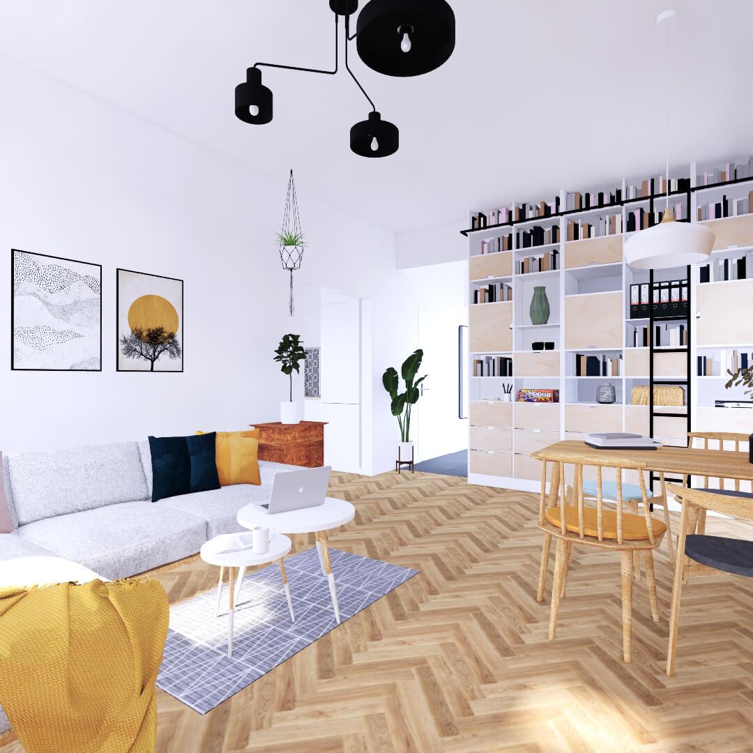 Kompleksowy projekt wnętrza salonu. Przytulny pokój dzienny dla całej rodziny. Układ wnętrza pozwala jasno wydzielić strefy funkcjonalne w salonie. Duży stół w pobliżu kuchni tworzy jadalnię, która może zmieniać się też w przestrzeń do zabawy dla dzieci. Wygodny narożnik pozwala zanurzyć się w książce lub filmie.