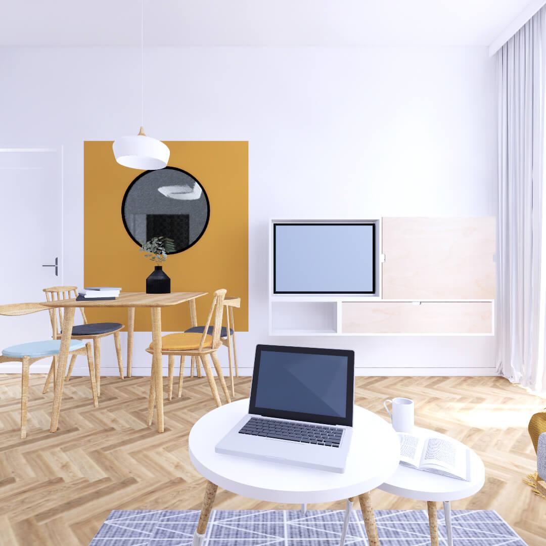 Kompleksowy projekt wnętrza salonu. Przytulny pokój dzienny dla całej rodziny. Telewizor nie jest w tym mieszkaniu w centrum zainteresowania, stąd pomysł na szafkę z przesuwnym frontem, za którym można schowac sprzęt w czasie, gdy się z niego nie korzysta.